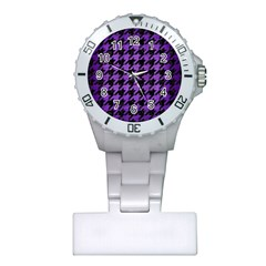 Houndstooth1 Black Marble & Purple Brushed Metal Plastic Nurses Watch by trendistuff
