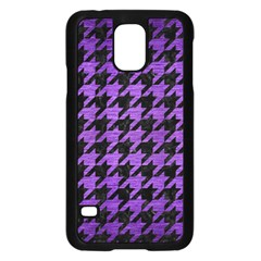 Houndstooth1 Black Marble & Purple Brushed Metal Samsung Galaxy S5 Case (black) by trendistuff