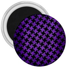 Houndstooth2 Black Marble & Purple Brushed Metal 3  Magnets by trendistuff