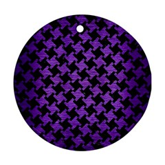 Houndstooth2 Black Marble & Purple Brushed Metal Round Ornament (two Sides) by trendistuff