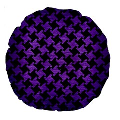 Houndstooth2 Black Marble & Purple Brushed Metal Large 18  Premium Round Cushions by trendistuff