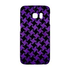Houndstooth2 Black Marble & Purple Brushed Metal Galaxy S6 Edge by trendistuff