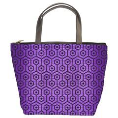 Hexagon1 Black Marble & Purple Brushed Metal Bucket Bags by trendistuff