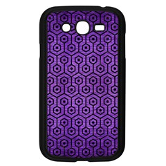 Hexagon1 Black Marble & Purple Brushed Metal Samsung Galaxy Grand Duos I9082 Case (black) by trendistuff