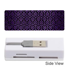 Hexagon1 Black Marble & Purple Brushed Metal (r) Memory Card Reader (stick)  by trendistuff