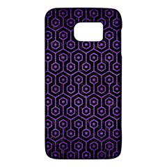 Hexagon1 Black Marble & Purple Brushed Metal (r) Galaxy S6 by trendistuff