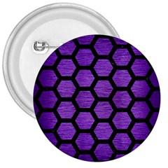 Hexagon2 Black Marble & Purple Brushed Metal 3  Buttons by trendistuff