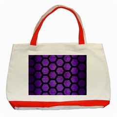 Hexagon2 Black Marble & Purple Brushed Metal Classic Tote Bag (red) by trendistuff