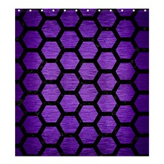 Hexagon2 Black Marble & Purple Brushed Metal Shower Curtain 66  X 72  (large)  by trendistuff