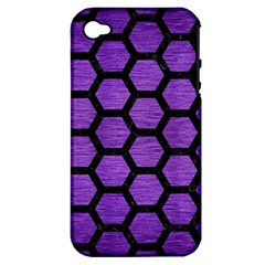 Hexagon2 Black Marble & Purple Brushed Metal Apple Iphone 4/4s Hardshell Case (pc+silicone) by trendistuff