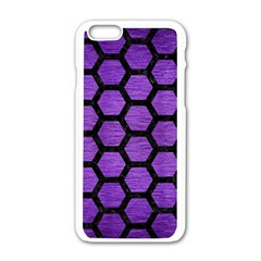 Hexagon2 Black Marble & Purple Brushed Metal Apple Iphone 6/6s White Enamel Case by trendistuff