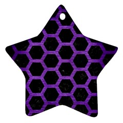 Hexagon2 Black Marble & Purple Brushed Metal (r) Star Ornament (two Sides) by trendistuff