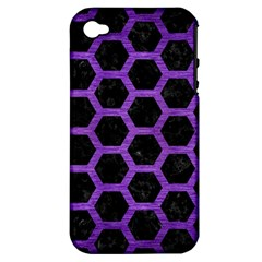 Hexagon2 Black Marble & Purple Brushed Metal (r) Apple Iphone 4/4s Hardshell Case (pc+silicone) by trendistuff