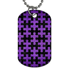 Puzzle1 Black Marble & Purple Brushed Metal Dog Tag (two Sides) by trendistuff
