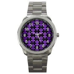 Puzzle1 Black Marble & Purple Brushed Metal Sport Metal Watch by trendistuff