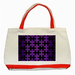 Puzzle1 Black Marble & Purple Brushed Metal Classic Tote Bag (red) by trendistuff
