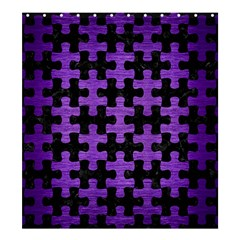 Puzzle1 Black Marble & Purple Brushed Metal Shower Curtain 66  X 72  (large)  by trendistuff