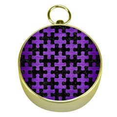 Puzzle1 Black Marble & Purple Brushed Metal Gold Compasses by trendistuff