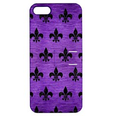 Royal1 Black Marble & Purple Brushed Metal (r) Apple Iphone 5 Hardshell Case With Stand by trendistuff