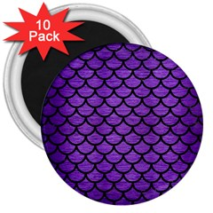 Scales1 Black Marble & Purple Brushed Metal 3  Magnets (10 Pack)  by trendistuff