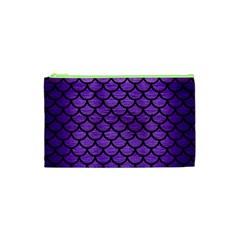 Scales1 Black Marble & Purple Brushed Metal Cosmetic Bag (xs) by trendistuff