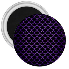 Scales1 Black Marble & Purple Brushed Metal (r) 3  Magnets by trendistuff