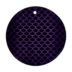 Scales1 Black Marble & Purple Brushed Metal (r) Round Ornament (two Sides) by trendistuff