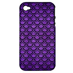 Scales2 Black Marble & Purple Brushed Metal Apple Iphone 4/4s Hardshell Case (pc+silicone) by trendistuff