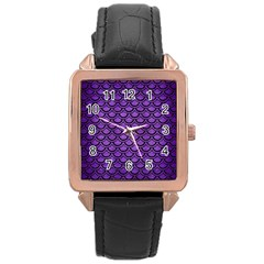 Scales2 Black Marble & Purple Brushed Metal Rose Gold Leather Watch  by trendistuff