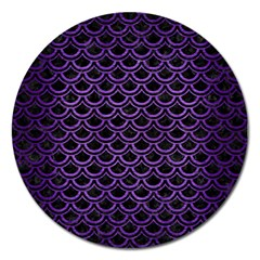 Scales2 Black Marble & Purple Brushed Metal (r) Magnet 5  (round) by trendistuff