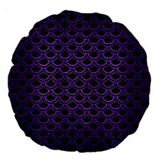 Scales2 Black Marble & Purple Brushed Metal (r) Large 18  Premium Flano Round Cushions by trendistuff