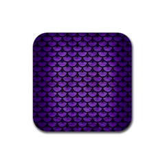Scales3 Black Marble & Purple Brushed Metal Rubber Square Coaster (4 Pack)  by trendistuff