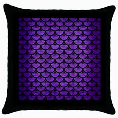 Scales3 Black Marble & Purple Brushed Metal Throw Pillow Case (black) by trendistuff