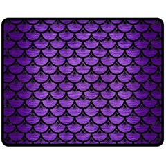 Scales3 Black Marble & Purple Brushed Metal Fleece Blanket (medium)  by trendistuff