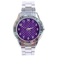 Scales3 Black Marble & Purple Brushed Metal Stainless Steel Analogue Watch by trendistuff