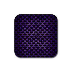 Scales3 Black Marble & Purple Brushed Metal (r) Rubber Square Coaster (4 Pack)  by trendistuff