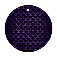 Scales3 Black Marble & Purple Brushed Metal (r) Round Ornament (two Sides) by trendistuff
