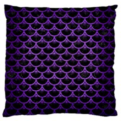 Scales3 Black Marble & Purple Brushed Metal (r) Large Cushion Case (two Sides) by trendistuff