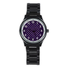Scales3 Black Marble & Purple Brushed Metal (r) Stainless Steel Round Watch by trendistuff