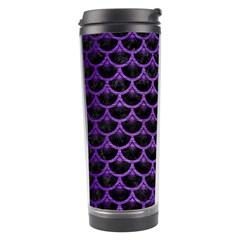 Scales3 Black Marble & Purple Brushed Metal (r) Travel Tumbler by trendistuff