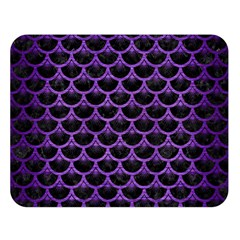Scales3 Black Marble & Purple Brushed Metal (r) Double Sided Flano Blanket (large)  by trendistuff