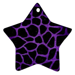 Skin1 Black Marble & Purple Brushed Metal Star Ornament (two Sides) by trendistuff