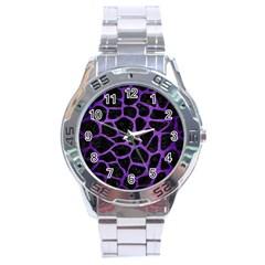 Skin1 Black Marble & Purple Brushed Metal Stainless Steel Analogue Watch by trendistuff