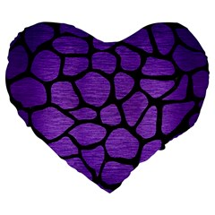 Skin1 Black Marble & Purple Brushed Metal (r) Large 19  Premium Flano Heart Shape Cushions by trendistuff