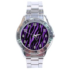 Skin3 Black Marble & Purple Brushed Metal (r) Stainless Steel Analogue Watch by trendistuff