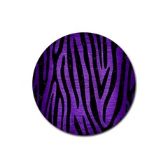 Skin4 Black Marble & Purple Brushed Metal (r) Rubber Coaster (round)  by trendistuff