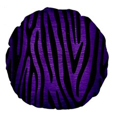 Skin4 Black Marble & Purple Brushed Metal (r) Large 18  Premium Flano Round Cushions