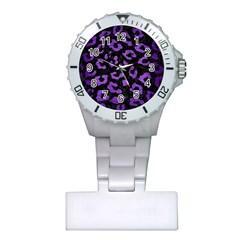 Skin5 Black Marble & Purple Brushed Metal Plastic Nurses Watch by trendistuff