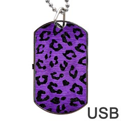 Skin5 Black Marble & Purple Brushed Metal (r) Dog Tag Usb Flash (two Sides) by trendistuff