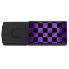 Square1 Black Marble & Purple Brushed Metal Rectangular Usb Flash Drive by trendistuff